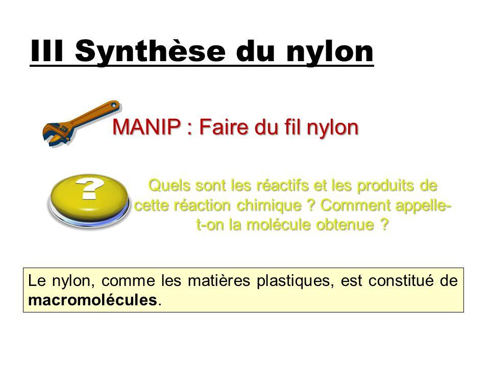 III Synthèse du nylon MANIP : Faire du fil nylon Quels sont les réactifs et les produits de cette réaction chimique .