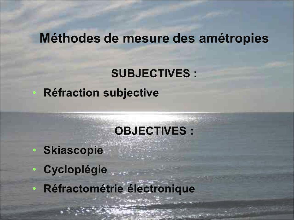 Méthodes de mesure des amétropies SUBJECTIVES : Réfraction subjective OBJECTIVES : Skiascopie Cycloplégie Réfractométrie électronique