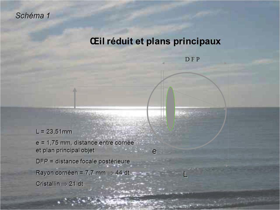 D F P e L Œil réduit et plans principaux L = 23,51mm e = 1,75 mm, distance entre cornée et plan principal objet DFP = distance focale postérieure Rayon cornéen = 7,7 mm  44 dt Cristallin  21 dt Schéma 1