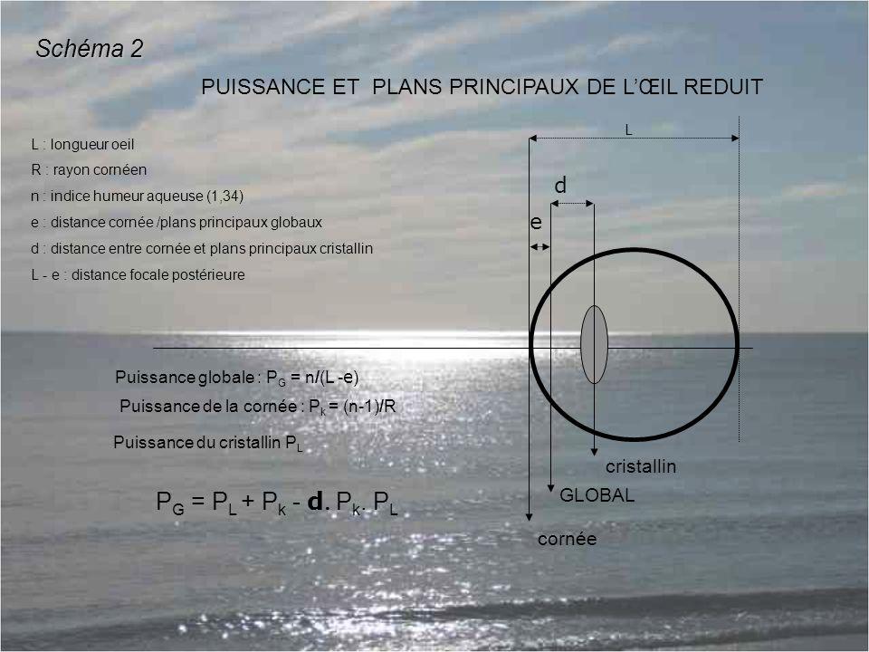 e d GLOBAL cristallin PUISSANCE ET PLANS PRINCIPAUX DE L'ŒIL REDUIT P G = P L + P k - d P k.