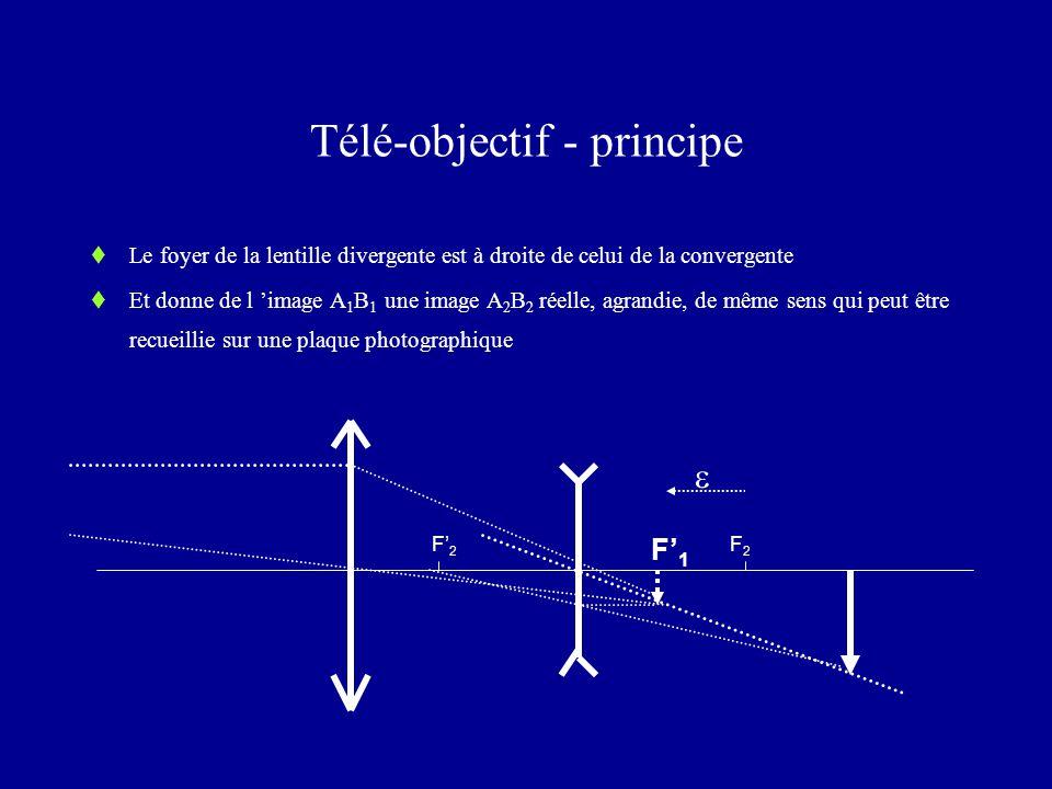 Télé-objectif - principe  Le foyer de la lentille divergente est à droite de celui de la convergente  Et donne de l 'image A 1 B 1 une image A 2 B 2 réelle, agrandie, de même sens qui peut être recueillie sur une plaque photographique F' 2 F2F2 F' 1 