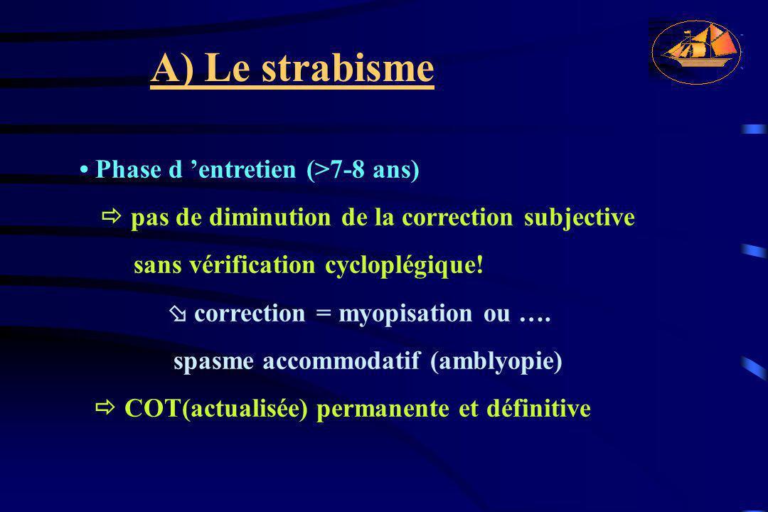 A) Le strabisme Phase d 'entretien (>7-8 ans)  pas de diminution de la correction subjective sans vérification cycloplégique!  correction = myopisat