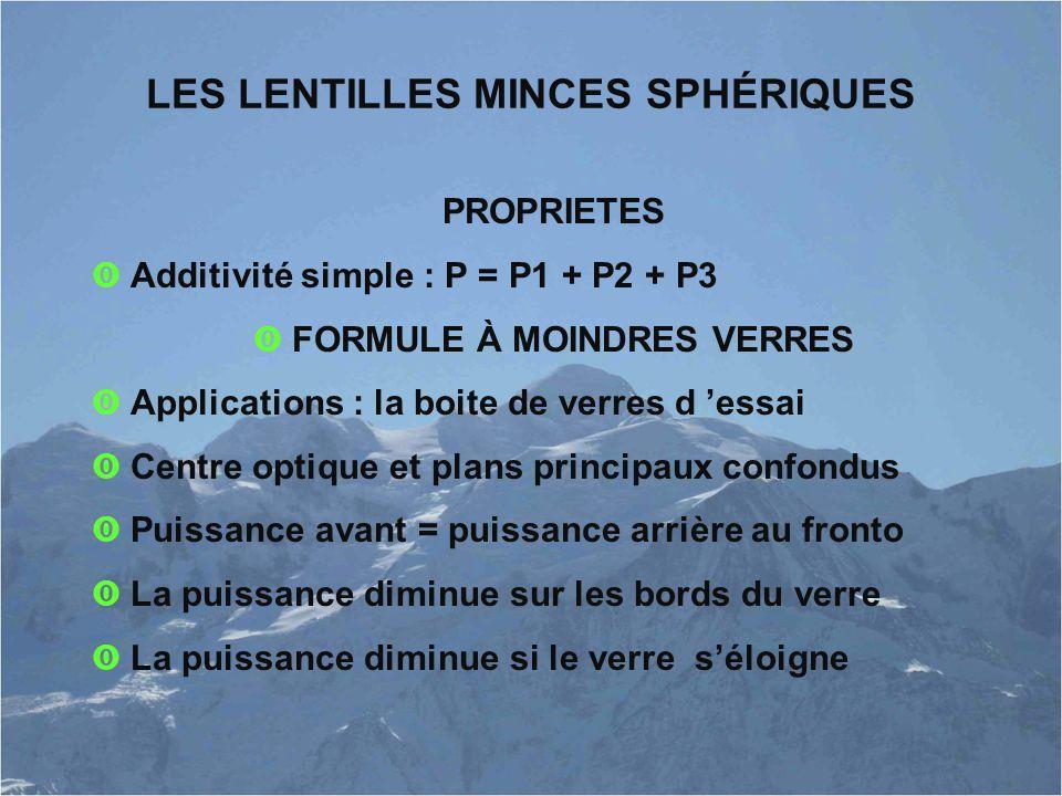 LES LENTILLES MINCES SPHÉRIQUES PROPRIETES  Additivité simple : P = P1 + P2 + P3  FORMULE À MOINDRES VERRES  Applications : la boite de verres d 'e