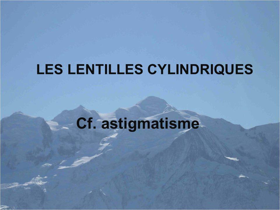 LES LENTILLES CYLINDRIQUES Cf. astigmatisme