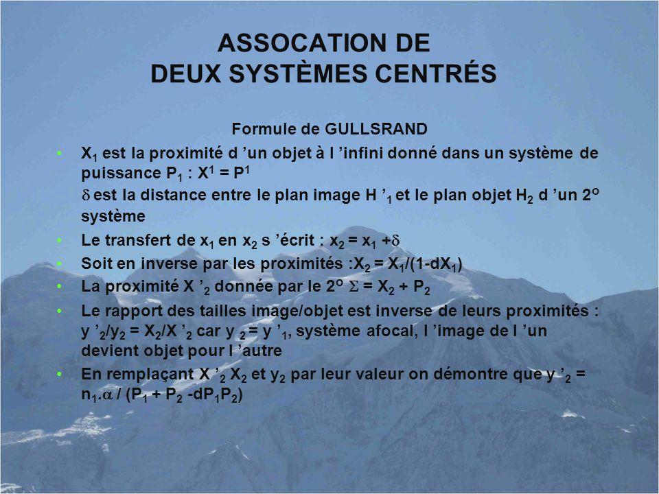 ASSOCATION DE DEUX SYSTÈMES CENTRÉS Formule de GULLSRAND X 1 est la proximité d 'un objet à l 'infini donné dans un système de puissance P 1 : X 1 = P