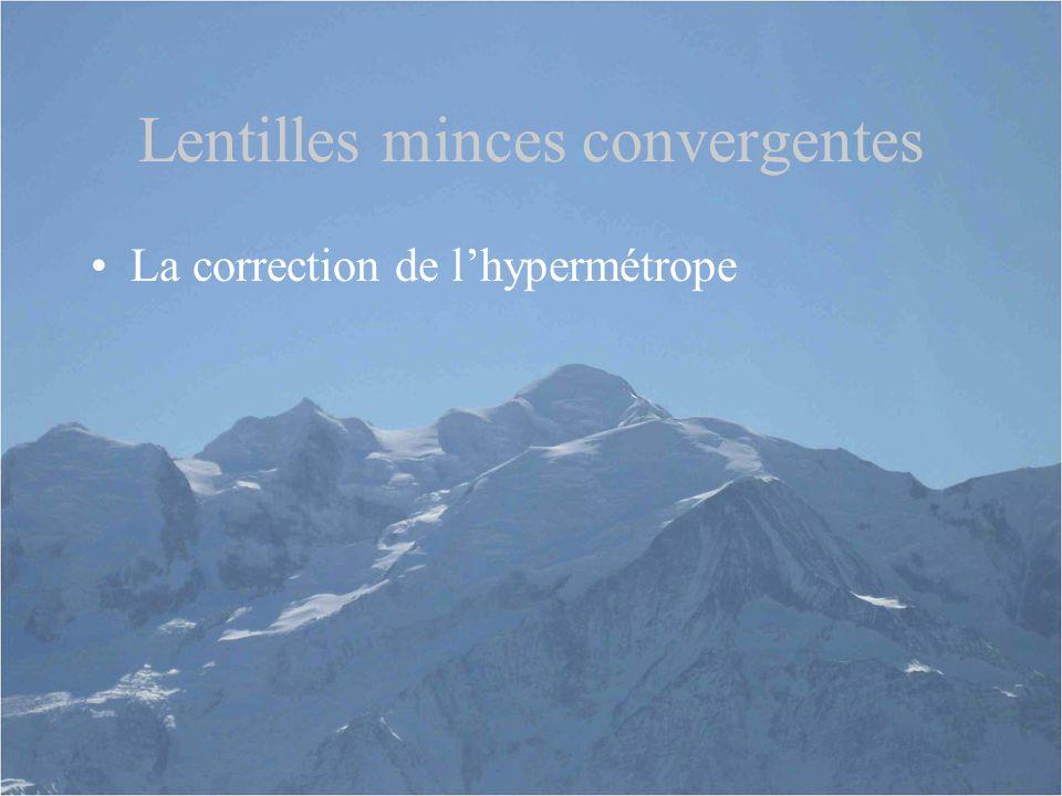 Lentilles minces convergentes La correction de l'hypermétrope