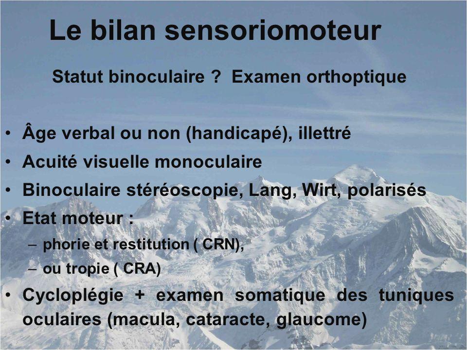 Le bilan sensoriomoteur Statut binoculaire .