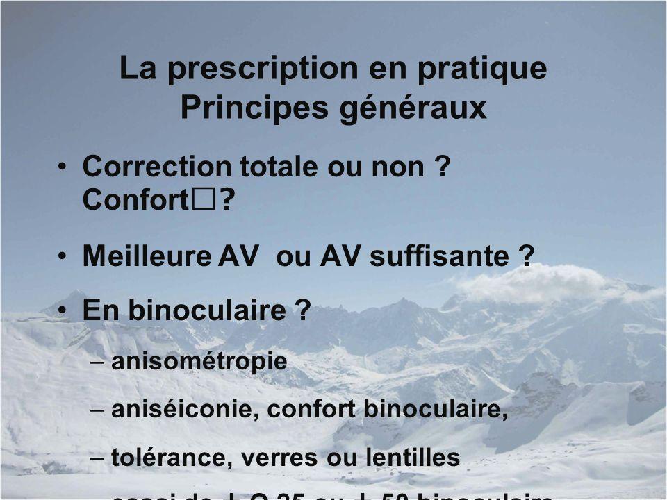 La prescription en pratique Principes généraux Correction totale ou non .