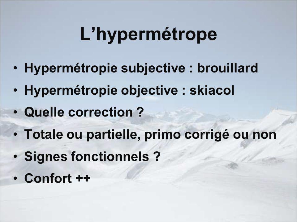 L'hypermétrope Hypermétropie subjective : brouillard Hypermétropie objective : skiacol Quelle correction .