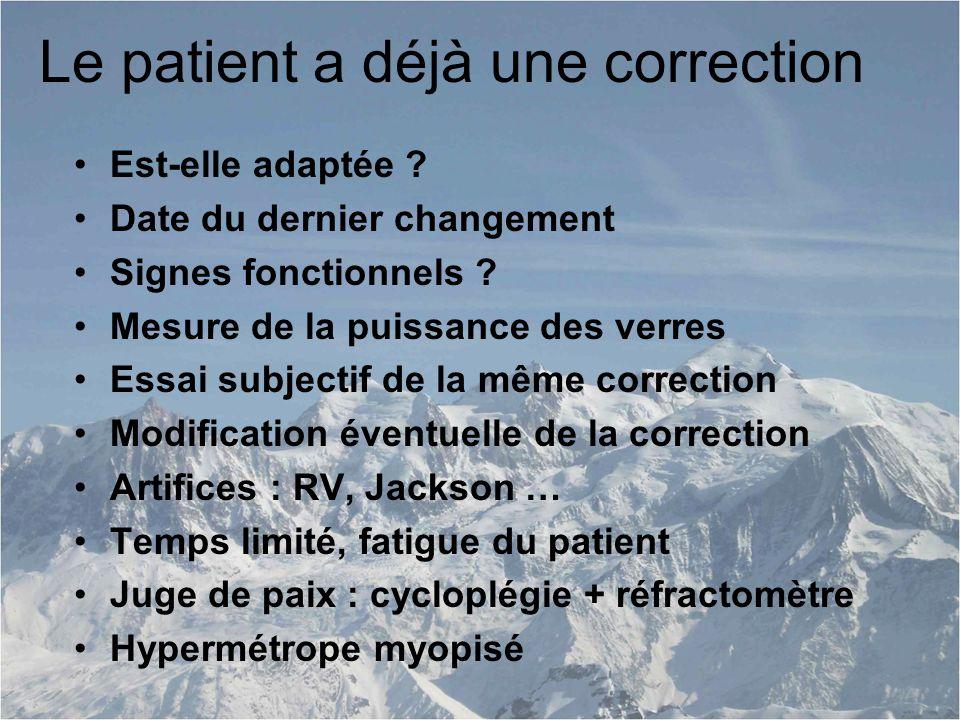 Le patient a déjà une correction Est-elle adaptée .