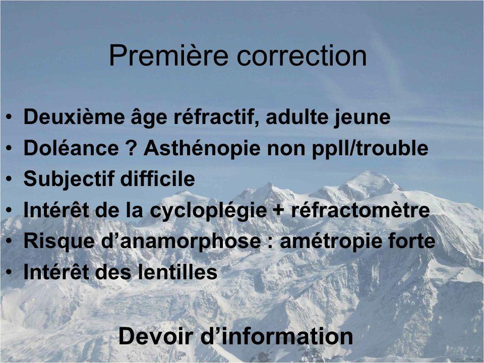 Première correction Deuxième âge réfractif, adulte jeune Doléance .