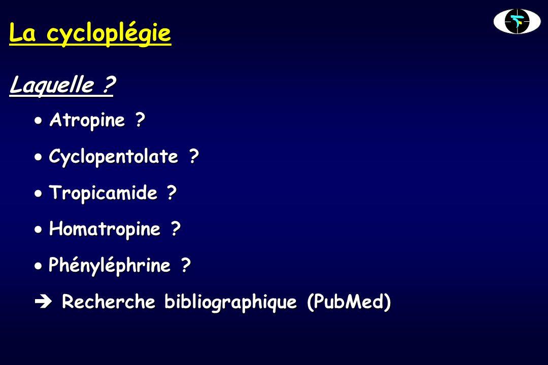 La cycloplégie 2 études nantaises récentes  Etude prospective : Cyclopentolate – Atropine (A.