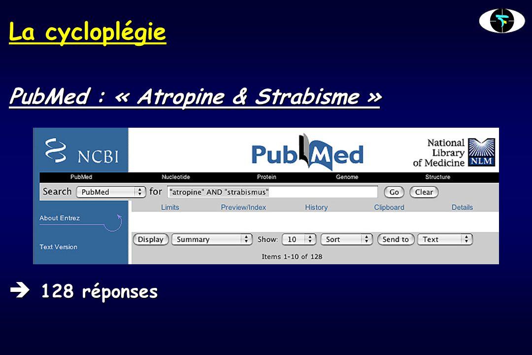 La cycloplégie L'Atropine  Cycloplégique de référence  Donne le meilleur effet cycloplégiant  Dosage en fonction de l'âge et de la pigmentation  Avant 2 ans : 0,3%  De 2 à 5 ans : 0,5%  Après 5 ans : 1%  Durée instillation : 7 jours  Fréquence instillations : 2 fois par jour