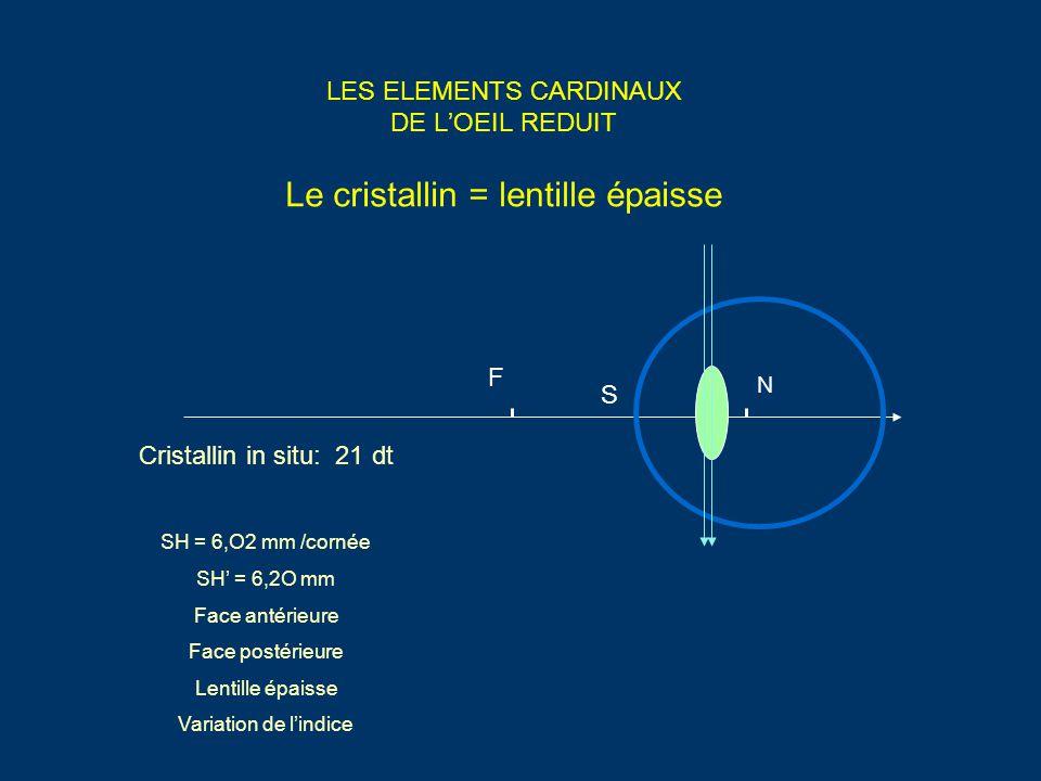 LES ELEMENTS CARDINAUX DE L'OEIL REDUIT Le cristallin = lentille épaisse Cristallin in situ: 21 dt SH = 6,O2 mm /cornée SH' = 6,2O mm Face antérieure Face postérieure Lentille épaisse Variation de l'indice F N S