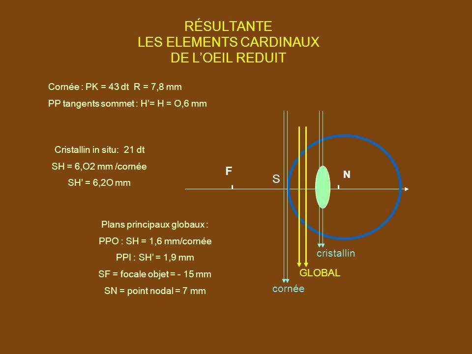RÉSULTANTE LES ELEMENTS CARDINAUX DE L'OEIL REDUIT cornée GLOBAL cristallin Plans principaux globaux : PPO : SH = 1,6 mm/cornée PPI : SH' = 1,9 mm SF = focale objet = - 15 mm SN = point nodal = 7 mm Cristallin in situ: 21 dt SH = 6,O2 mm /cornée SH' = 6,2O mm Cornée : PK = 43 dt R = 7,8 mm PP tangents sommet : H'= H = O,6 mm F N S