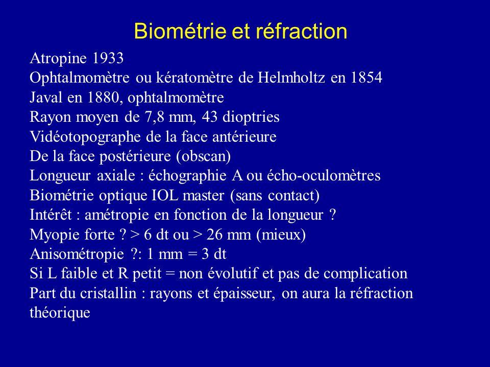 Biométrie et réfraction Atropine 1933 Ophtalmomètre ou kératomètre de Helmholtz en 1854 Javal en 1880, ophtalmomètre Rayon moyen de 7,8 mm, 43 dioptries Vidéotopographe de la face antérieure De la face postérieure (obscan) Longueur axiale : échographie A ou écho-oculomètres Biométrie optique IOL master (sans contact) Intérêt : amétropie en fonction de la longueur .
