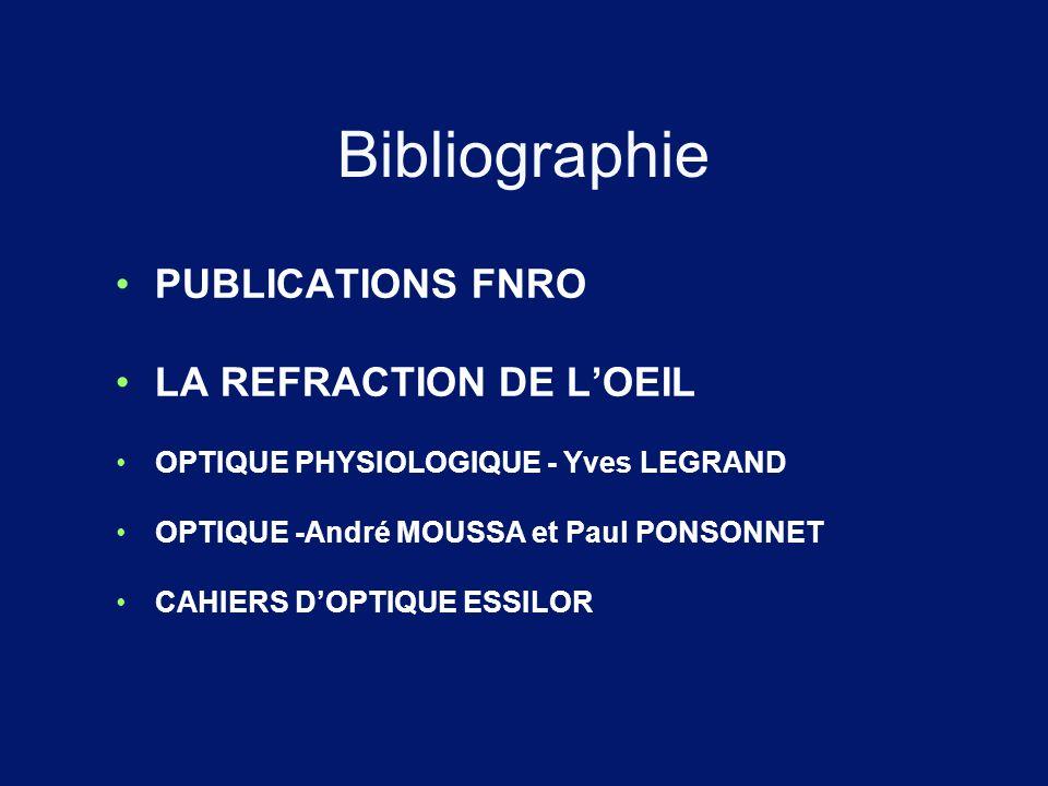 Bibliographie PUBLICATIONS FNRO LA REFRACTION DE L'OEIL OPTIQUE PHYSIOLOGIQUE - Yves LEGRAND OPTIQUE -André MOUSSA et Paul PONSONNET CAHIERS D'OPTIQUE