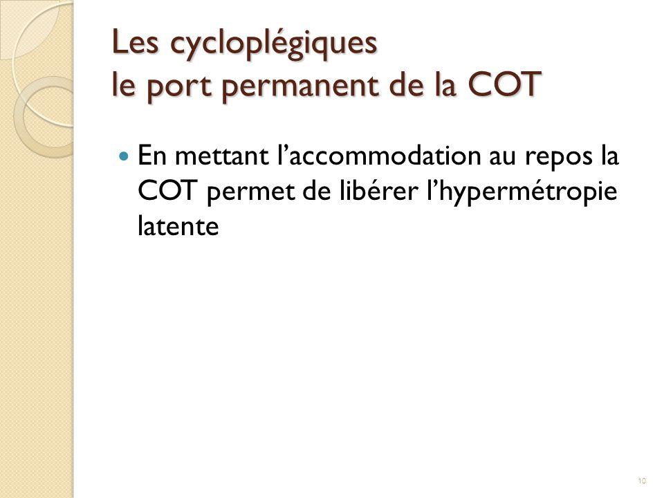 Les cycloplégiques le port permanent de la COT En mettant l'accommodation au repos la COT permet de libérer l'hypermétropie latente 10