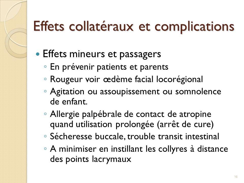 Effets collatéraux et complications Effets mineurs et passagers ◦ En prévenir patients et parents ◦ Rougeur voir œdème facial locorégional ◦ Agitation