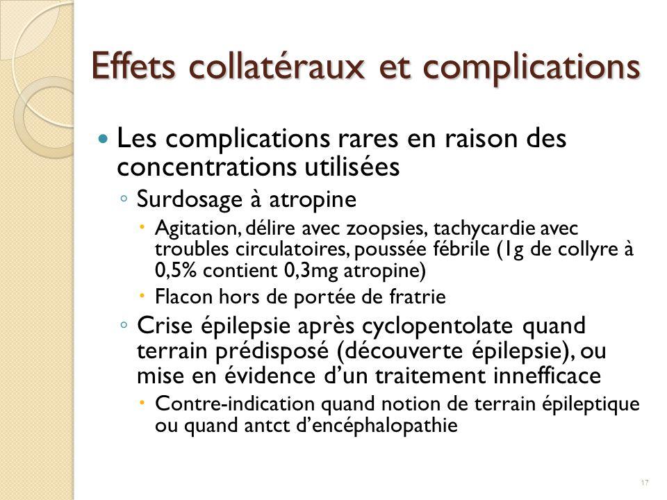 Effets collatéraux et complications Les complications rares en raison des concentrations utilisées ◦ Surdosage à atropine  Agitation, délire avec zoo