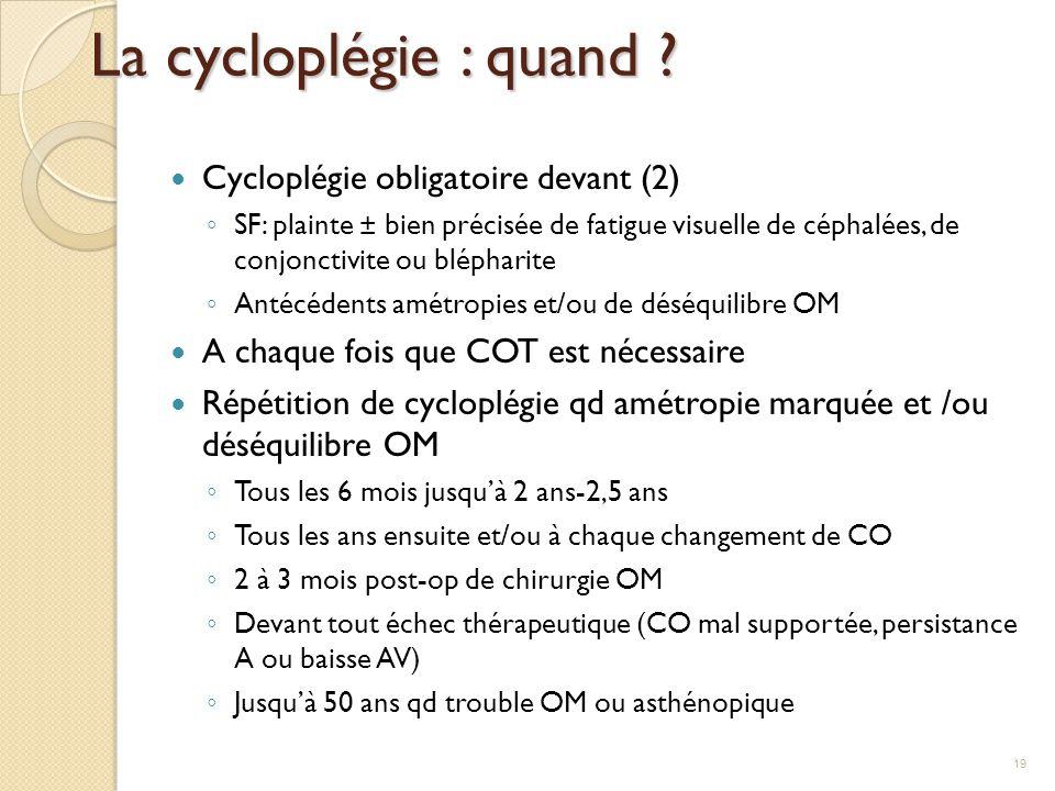 La cycloplégie : quand ? Cycloplégie obligatoire devant (2) ◦ SF: plainte ± bien précisée de fatigue visuelle de céphalées, de conjonctivite ou blépha