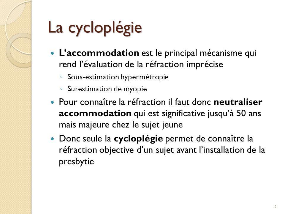 La cycloplégie L'accommodation est le principal mécanisme qui rend l'évaluation de la réfraction imprécise ◦ Sous-estimation hypermétropie ◦ Surestima