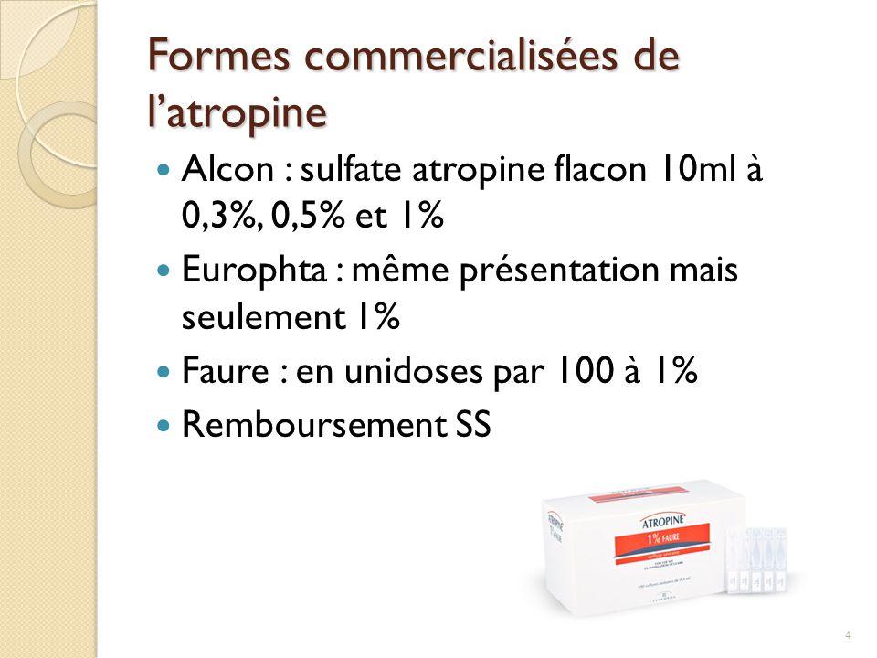 Formes commercialisées de l'atropine Alcon : sulfate atropine flacon 10ml à 0,3%, 0,5% et 1% Europhta : même présentation mais seulement 1% Faure : en
