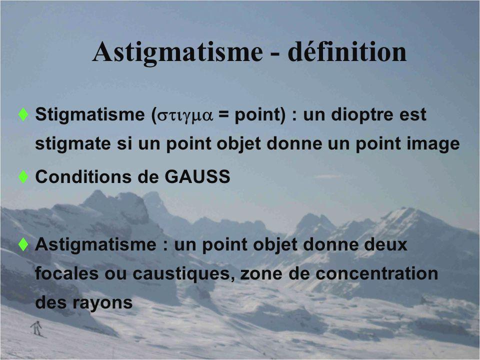 Astigmatisme - définition  Stigmatisme (  = point) : un dioptre est stigmate si un point objet donne un point image  Conditions de GAUSS  Ast