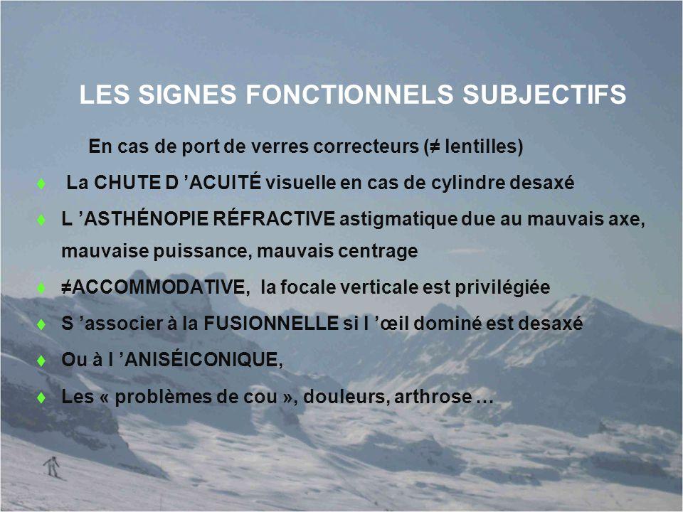 LES SIGNES FONCTIONNELS SUBJECTIFS En cas de port de verres correcteurs (≠ lentilles)  La CHUTE D 'ACUITÉ visuelle en cas de cylindre desaxé  L 'AST