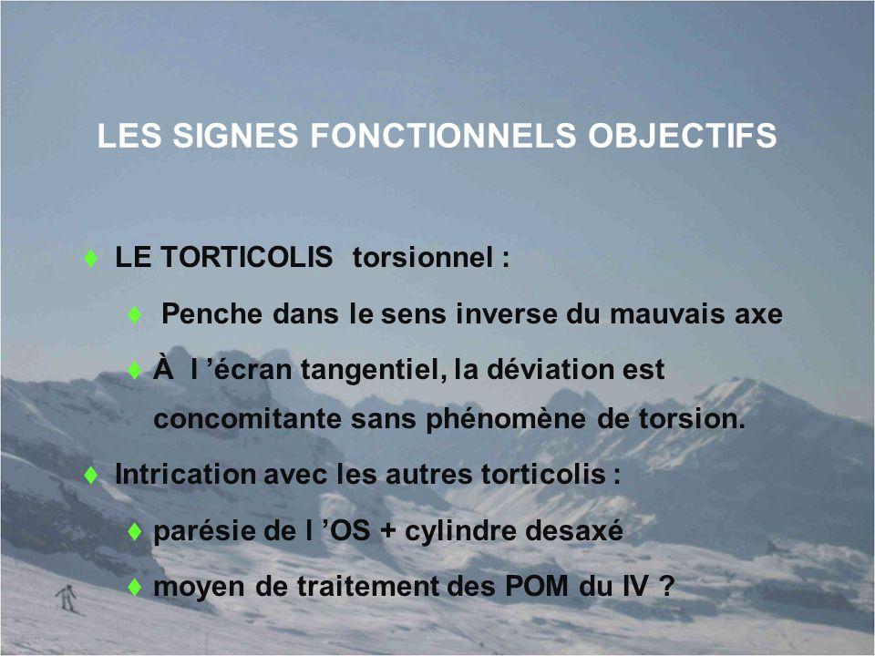LES SIGNES FONCTIONNELS OBJECTIFS  LE TORTICOLIS torsionnel :  Penche dans le sens inverse du mauvais axe  À l 'écran tangentiel, la déviation est