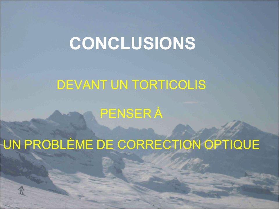 CONCLUSIONS DEVANT UN TORTICOLIS PENSER À UN PROBLÈME DE CORRECTION OPTIQUE
