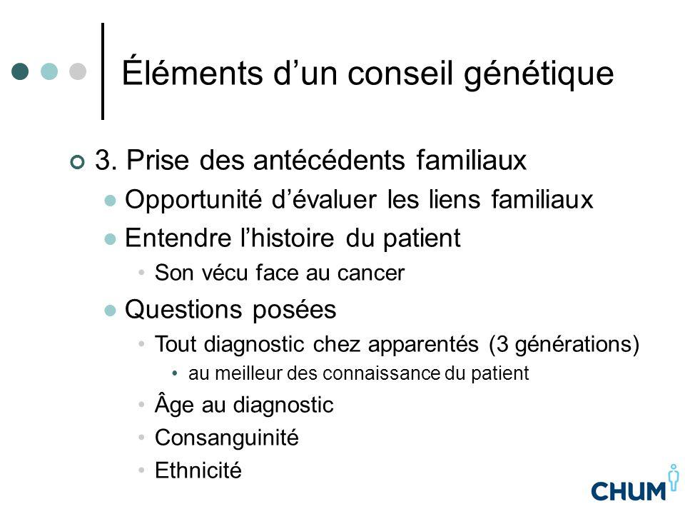 Éléments d'un conseil génétique 3. Prise des antécédents familiaux Opportunité d'évaluer les liens familiaux Entendre l'histoire du patient Son vécu f