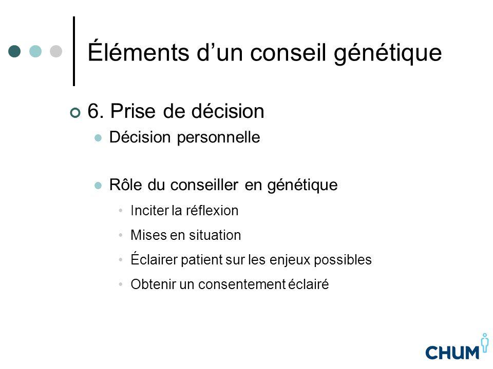 Éléments d'un conseil génétique 6. Prise de décision Décision personnelle Rôle du conseiller en génétique Inciter la réflexion Mises en situation Écla
