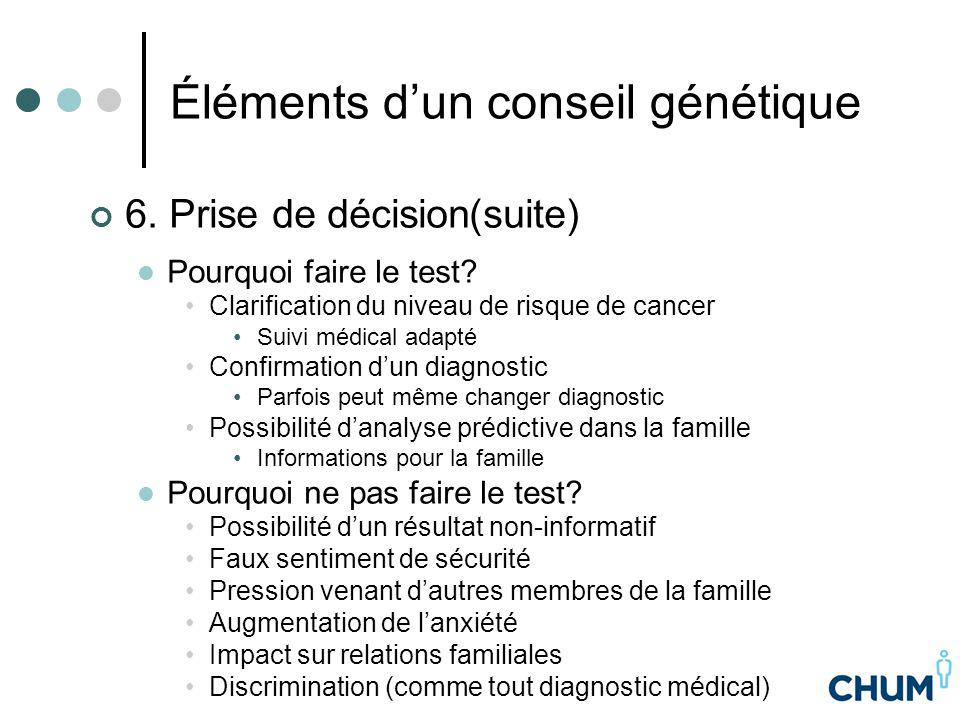 Éléments d'un conseil génétique 6. Prise de décision(suite) Pourquoi faire le test? Clarification du niveau de risque de cancer Suivi médical adapté C