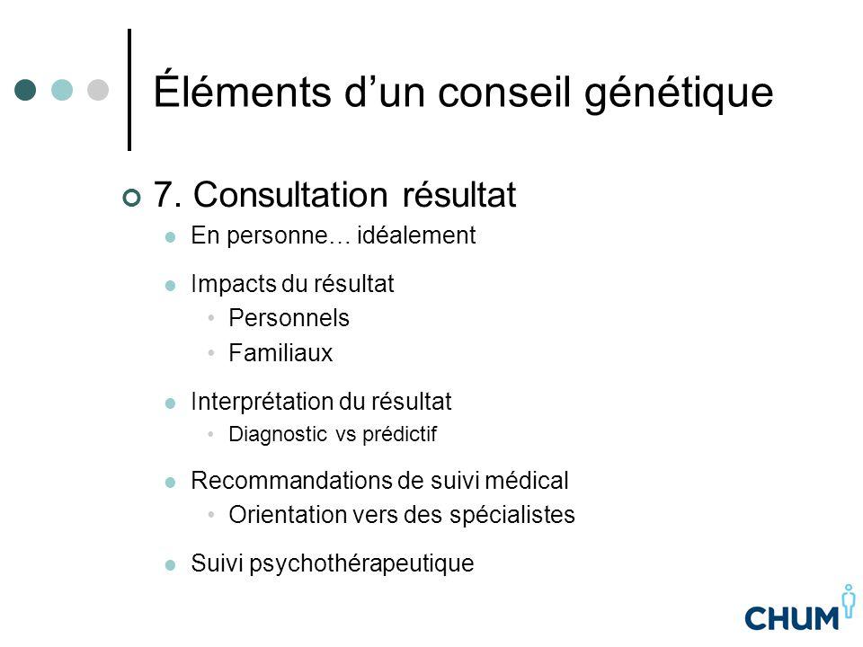 Éléments d'un conseil génétique 7. Consultation résultat En personne… idéalement Impacts du résultat Personnels Familiaux Interprétation du résultat D