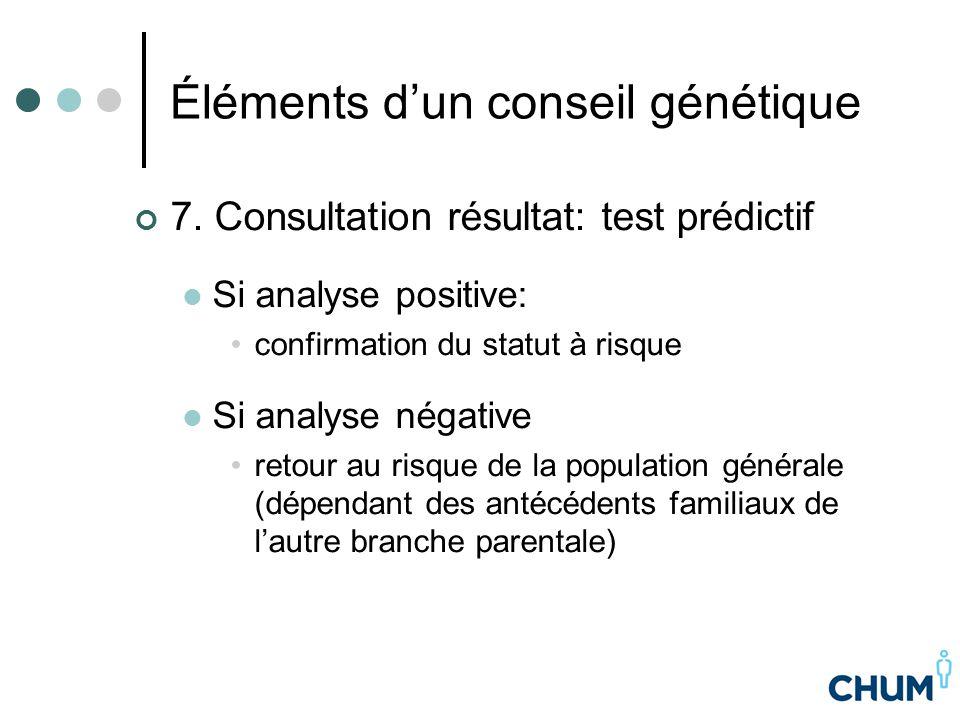 Éléments d'un conseil génétique 7. Consultation résultat: test prédictif Si analyse positive: confirmation du statut à risque Si analyse négative reto
