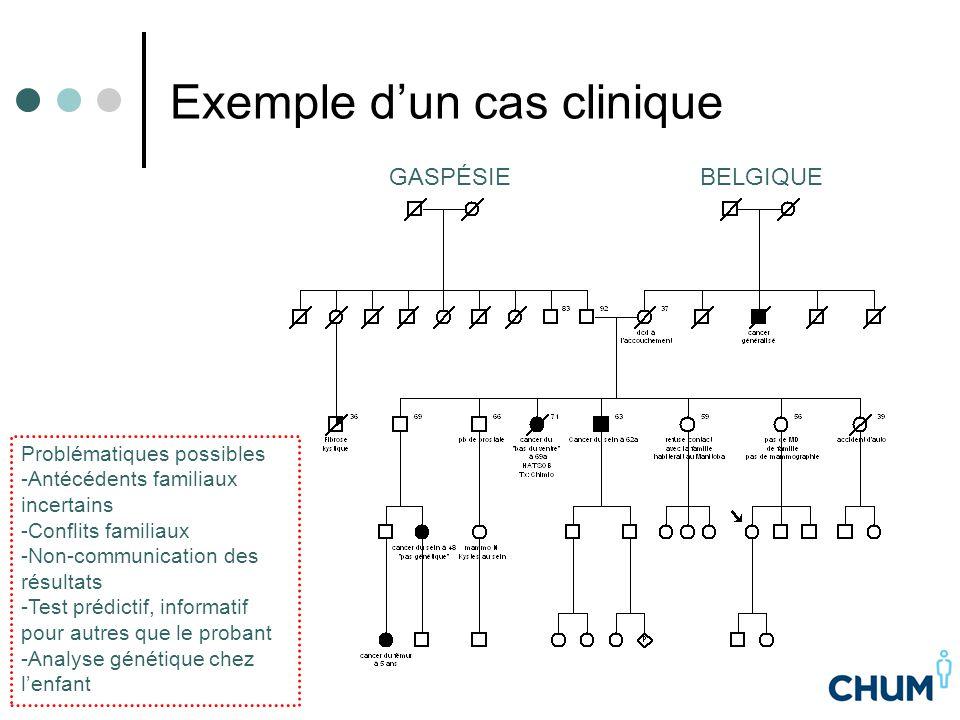 Exemple d'un cas clinique BELGIQUEGASPÉSIE Problématiques possibles -Antécédents familiaux incertains -Conflits familiaux -Non-communication des résul
