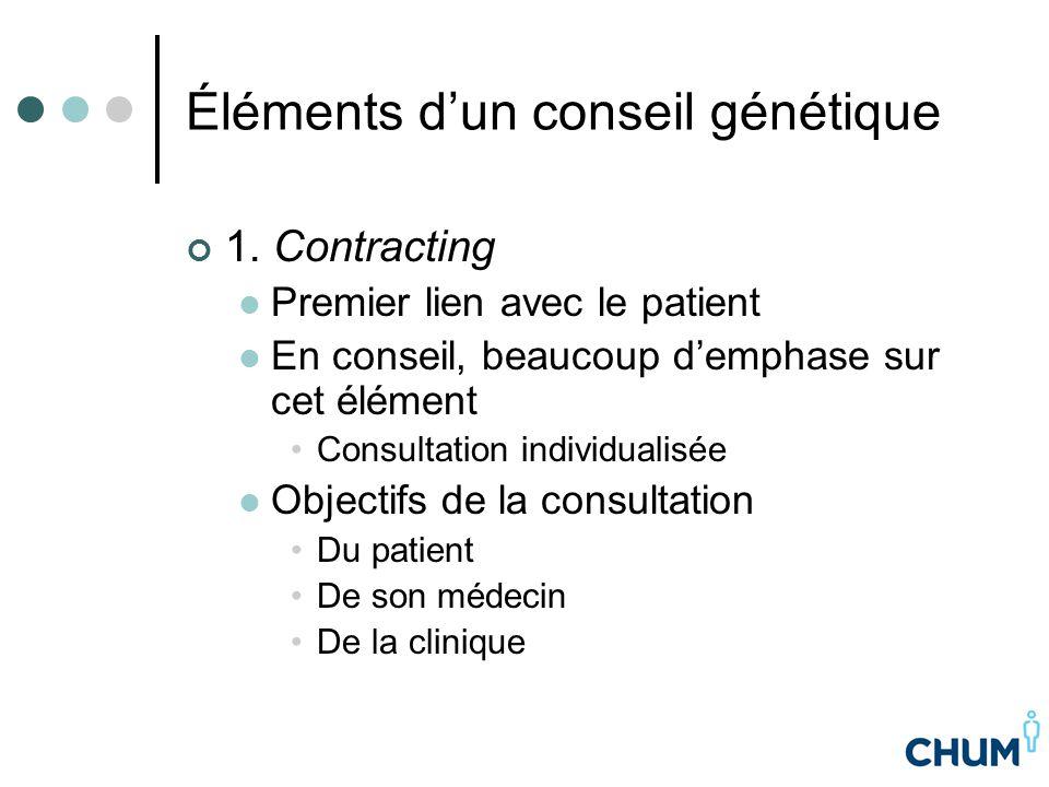 Éléments d'un conseil génétique 1. Contracting Premier lien avec le patient En conseil, beaucoup d'emphase sur cet élément Consultation individualisée