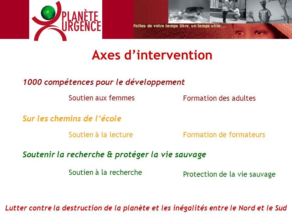 1000 compétences pour le développement Soutien aux femmes Formation des adultes Sur les chemins de l'école Soutenir la recherche & protéger la vie sau