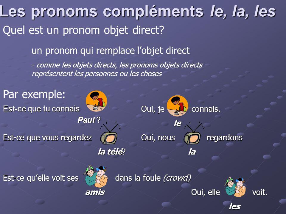 Ordre des mots En générale, les pronoms objets directs le, la, l' (devant une voyelle) et les sont placés devant le verbe Exemple: AFFIRMATIVE NEGATIVE Qui connaît Éric.