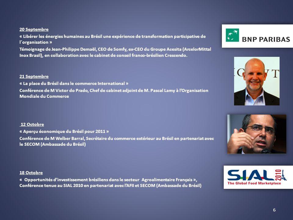 20 Septembre « Libérer les énergies humaines au Brésil une expérience de transformation participative de l´organisation » Témoignage de Jean-Philippe Demaël, CEO de Somfy, ex-CEO du Groupe Acesita (ArcelorMittal Inox Brasil), en collaboration avec le cabinet de conseil franco-brésilien Crescendo.