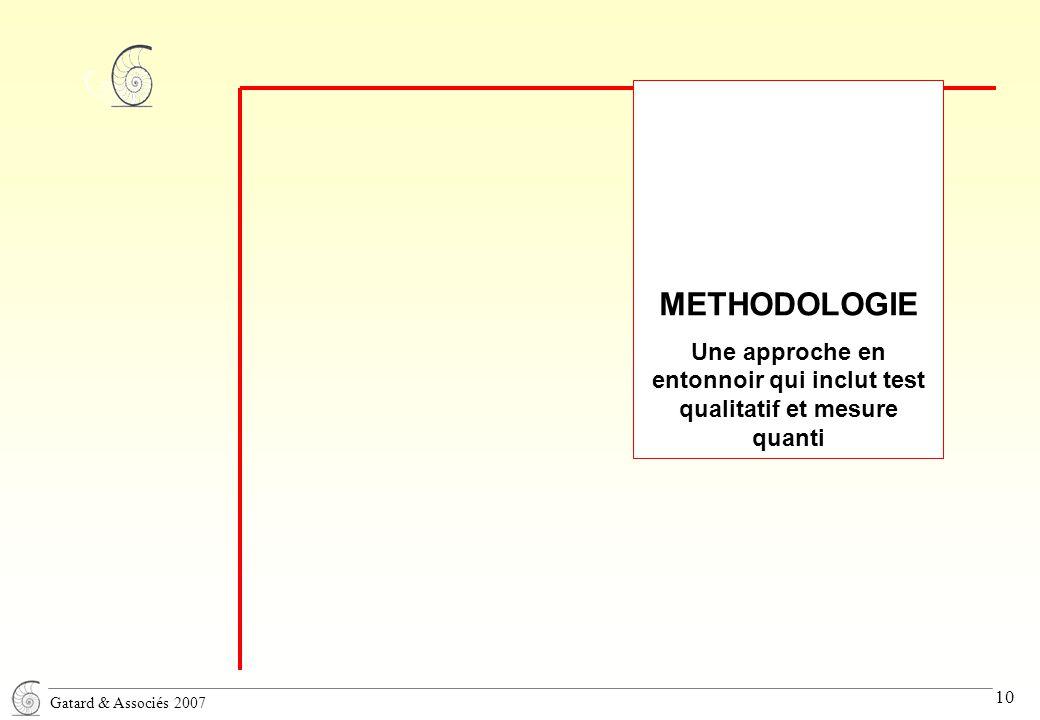 Gatard & Associés 2007 10 METHODOLOGIE Une approche en entonnoir qui inclut test qualitatif et mesure quanti