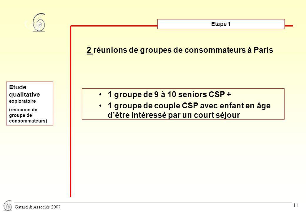 Gatard & Associés 2007 11 Etape 1 2 réunions de groupes de consommateurs à Paris Etude qualitative exploratoire (réunions de groupe de consommateurs) 1 groupe de 9 à 10 seniors CSP + 1 groupe de couple CSP avec enfant en âge d'être intéressé par un court séjour