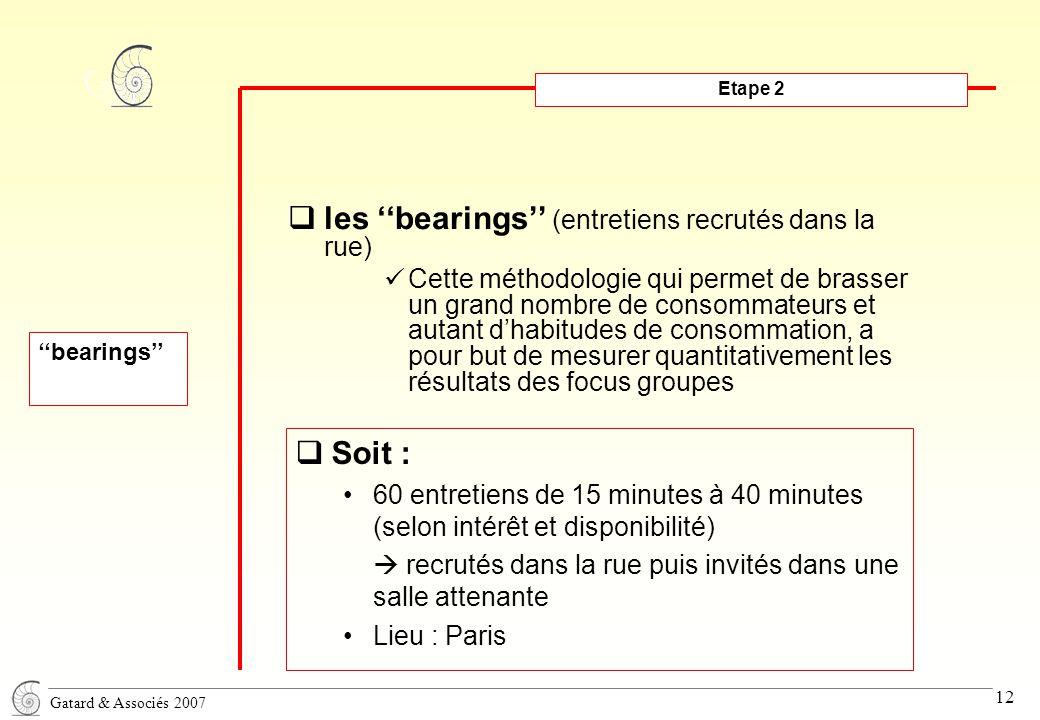 Gatard & Associés 2007 12 Etape 2  les ''bearings'' (entretiens recrutés dans la rue) Cette méthodologie qui permet de brasser un grand nombre de consommateurs et autant d'habitudes de consommation, a pour but de mesurer quantitativement les résultats des focus groupes ''bearings''  Soit : 60 entretiens de 15 minutes à 40 minutes (selon intérêt et disponibilité)  recrutés dans la rue puis invités dans une salle attenante Lieu : Paris