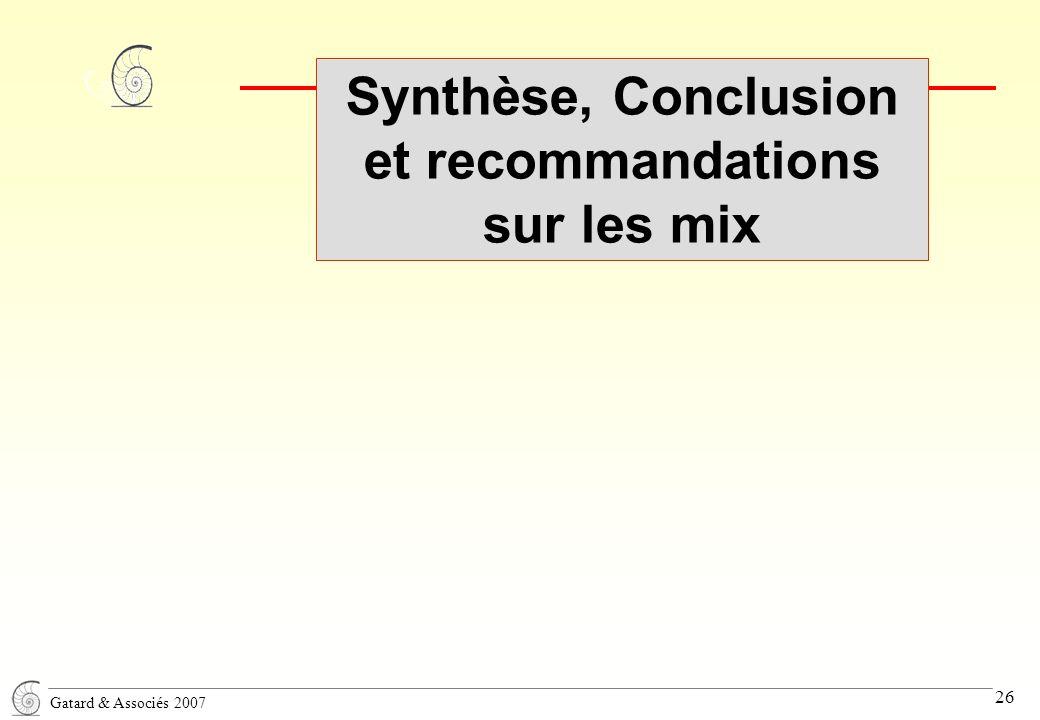 Gatard & Associés 2007 26 Synthèse, Conclusion et recommandations sur les mix