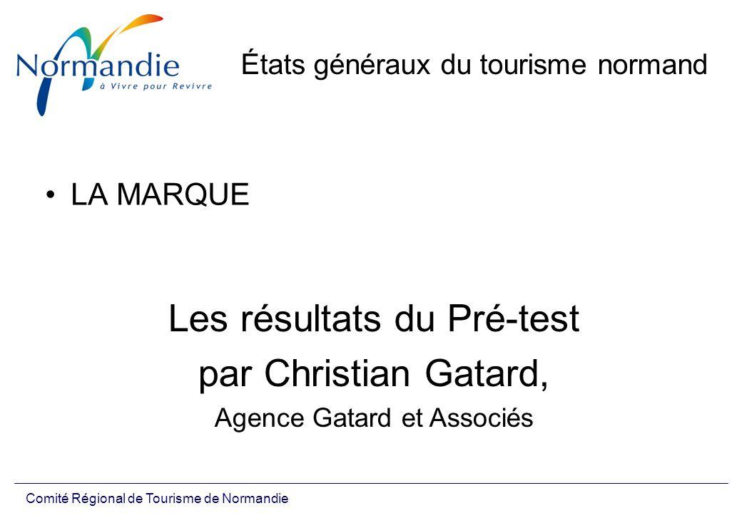 Comité Régional de Tourisme de Normandie États généraux du tourisme normand LA MARQUE Les résultats du Pré-test par Christian Gatard, Agence Gatard et Associés