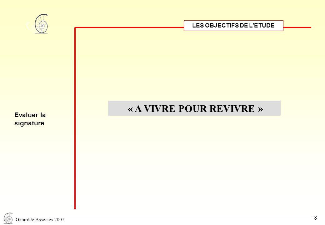 Gatard & Associés 2007 8 LES OBJECTIFS DE L'ETUDE Evaluer la signature « A VIVRE POUR REVIVRE »