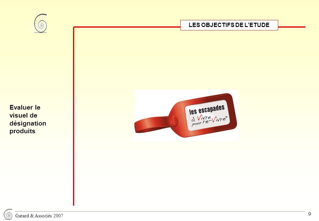 Gatard & Associés 2007 9 LES OBJECTIFS DE L'ETUDE Evaluer le visuel de désignation produits