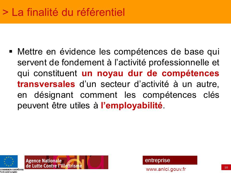 10 entreprise www.anlci.gouv.fr > La finalité du référentiel  Mettre en évidence les compétences de base qui servent de fondement à l'activité profes
