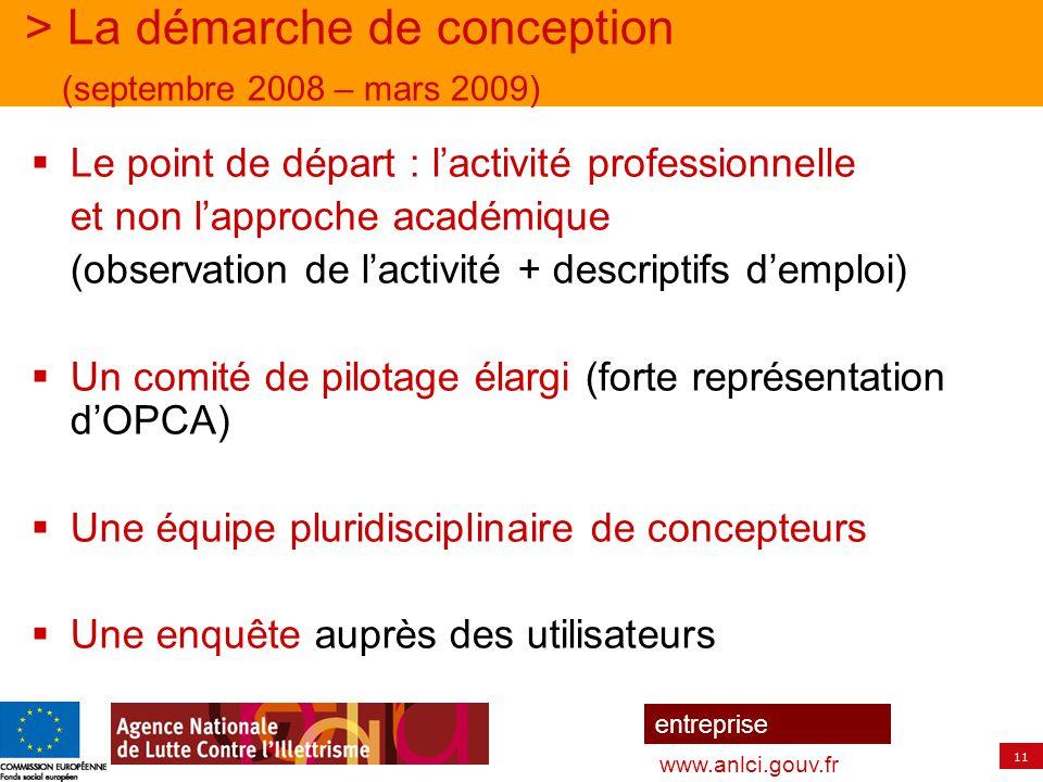 11 entreprise www.anlci.gouv.fr > La démarche de conception (septembre 2008 – mars 2009)  Le point de départ : l'activité professionnelle et non l'ap